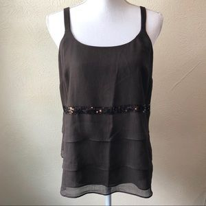 Lane Bryant Chiffon Lined Sequin Band Tank Top 16